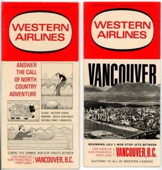 Two Western Airlines 1967 Timetables. WESTERN AIRLINES TIMETABLES