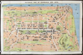 Pictorial Map of Edinburgh and Leith. SCOTLAND - EDINBURGH