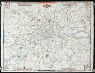 Map of the General Omnibus Routes. General. No. 4 1928. ENGLAND - LONDON