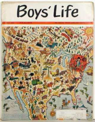 Boy's Life. The Boy Scouts' Magazine. 1964 - 07. UNITED STATES PICTORIAL MAP.