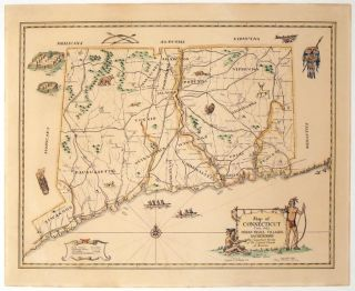 Map of Connecticut Circa 1625. Indian Trails, Villages, Sachemdoms. CONNECTICUT, Mathias Spiess., Mary Pierson Cheney.
