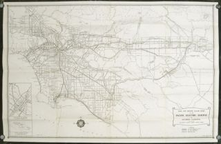 A Map of the Pacific Electric Lines. Map title: Rail and Motor Coach Lines of the Pacific...