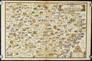 Esso Pictorial Plan of The Eastern Counties and the Midlands. ENGLAND - SOUTHEAST