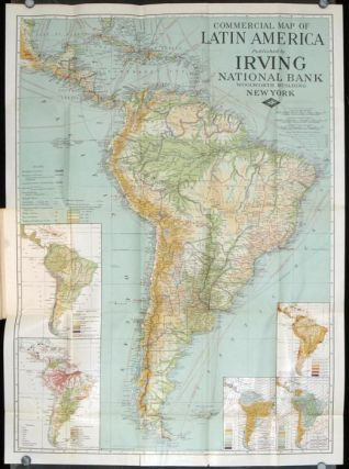 Commercial Map of Latin America With Index of Names Population and Trade Statistics.