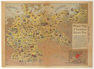 Picture Map of Germany Before War. Published in the Chicago Daily Tribune, Monday March 12 1945. GERMANY - WORLD WAR II.