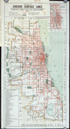 Seeing Greater Chicago by the Chicago Surface Lines. A Sightseeing and Route Guide. (Map title: System of Chicago Surface Lines Showing principal points of interest and direct lines of transportation.). ILLINOIS - CHICAGO.