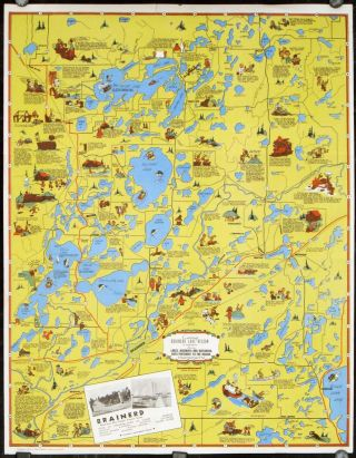 Cartomap Brainerd Lake Region in Minnesota Showing Lakes, Highways and Historical Data...