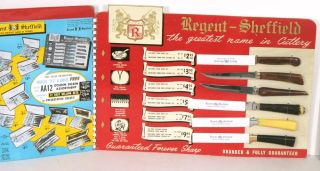 The Golden Dozen...Regent-Sheffield The Greatest Name in Cutlery. [SIX KNIVES IN DISPLAY CASE]....