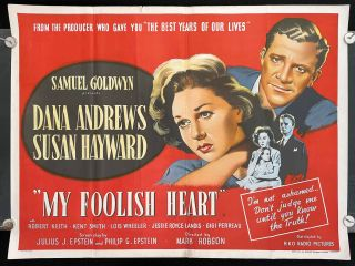 My Foolish Heart. (Movie Poster). FILM NOIR Based on short, J D. Salinger.