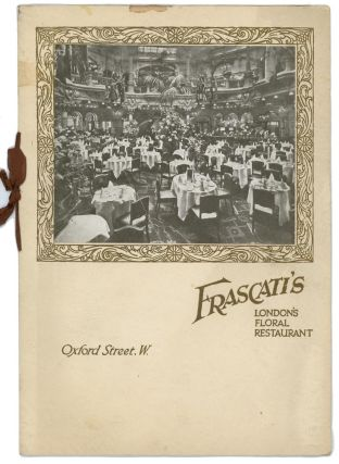 Restaurant Frascati. ENGLAND - LONDON / MENU.