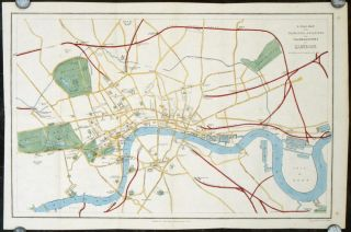 A Clue-Map to the Principal Buildings and Thoroughfares of London. ENGLAND - LONDON