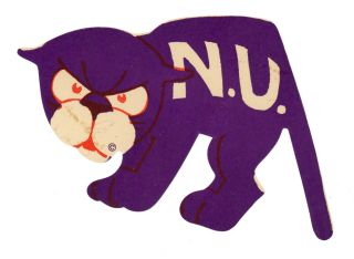 N.U. [Northwestern University Wildcats Mascot LUGGAGE LABEL]. NORTHWESTERN UNIVERSITY MASCOT