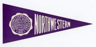 Northwestern University 1851. [LUGGAGE LABEL]. NORTHWESTERN UNIVERSITY PENNANT