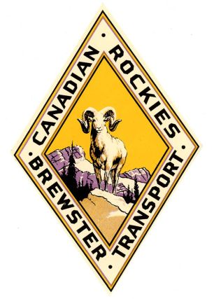 Canadian Rockies. Brewster Transport. [LUGGAGE LABEL]. CANADA - ROCKY MOUNTAINS