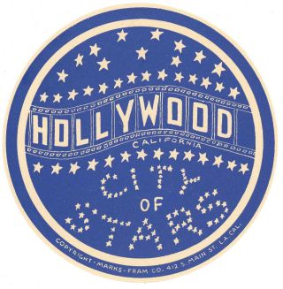 Hollywood California City of Stars. [LUGGAGE LABEL]. CALIFORNIA - HOLLYWOOD