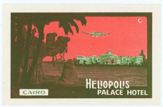 Heliopolis Palace Hotel Cairo. [LUGGAGE LABEL]. EGYPT - CAIRO
