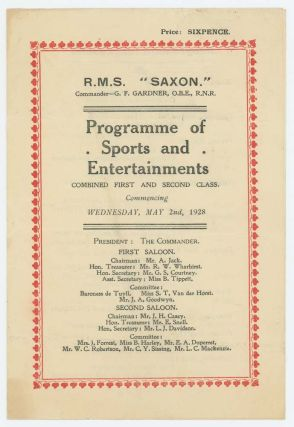 "RMS ""Saxon"" (1928). PROGRAMME OF SPORTS AND ENTERTAINMENTS"