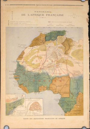 Panorama de L'Afrique Francaise (map of French Africa in complete issue of Le Petit Journal Supplement Illustre). AFRICA.
