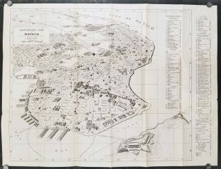 Panoramic Map of Havana. Plano Panoramico de La Habana. First Edition in English. CUBA -...