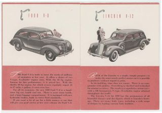 The Ford Motor Company Presents Five Quality Cars FORD, MERCURY, LINCOLN 1939 BROCHURE