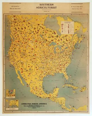 Animated North America. [PICTORIAL MAP]. UNITED STATES / NORTH, CENTRAL AMERICA