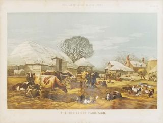 The Christmas Farm-Yard. [19th century color wood-engraved image of animals in the farm yard)....