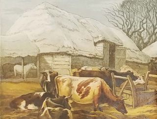 The Christmas Farm-Yard. [19th century color wood-engraved image of animals in the farm yard).