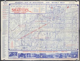 Shaefer's Map of Hollywood and Beverly Hills. CALIFORNIA - HOLLYWOOD - MOVIE STARS
