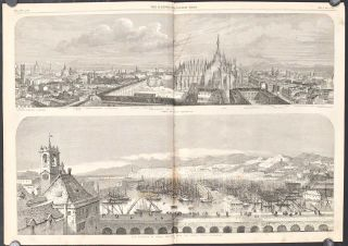 View of Milan. The Harbor of Genoa. The Illustrated London News. September 4, 1858. ITALY - MILAN