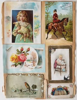 Scrapbook sheet with trade cards.