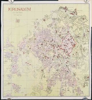 Jerusalem Old and New. (Cover title: Steimatzky's Pictorial Map Jerusalem). ISRAEL - JERUSALEM
