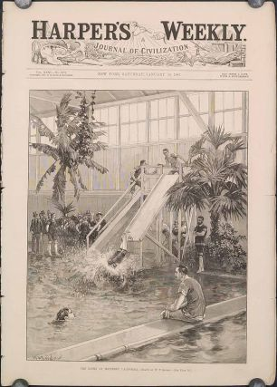 The Baths at Monterey, California. (in complete issue of Harper's Weekly January 29, 1887. CALIFORNIA - MONTEREY - SWIMMING.