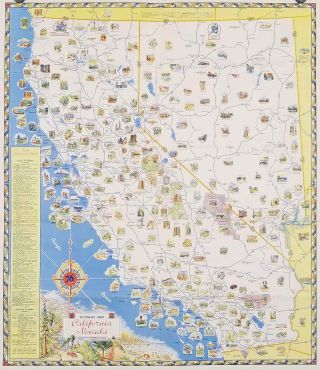 Pictorial Map. California Nevada. (Cover title: California - Nevada Pictorial Road Map. Union...