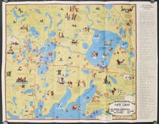 Cartomap. Cass Lake Minnesota. Showing Cass, Andrusia, Winnibigoshish and the other Lakes in...