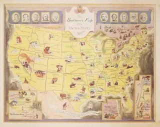 The Booklover's Map of the United States. UNITED STATES - LITERATURE.