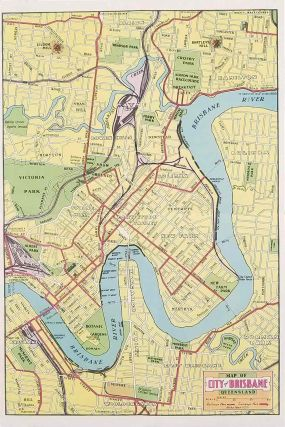TWO ITEMS: Map of Brisbane and Places of Interest / Brisbane for the Tourist. AUSTRALIA - BRISBANE