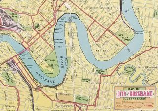 TWO ITEMS: Map of Brisbane and Places of Interest / Brisbane for the Tourist.