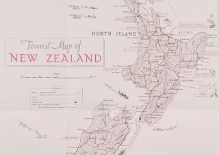 Tourist Map of New Zealand. (Map title: Tourist Map of New Zealand. South Pacific Wonderland).