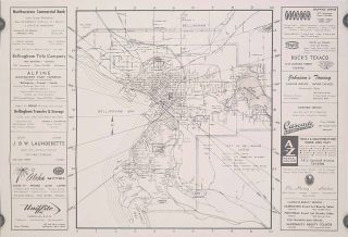 "Map of Bellingham Washington, ""The Red Carpet City,"" and Area Tour Information. WASHINGTON STATE..."