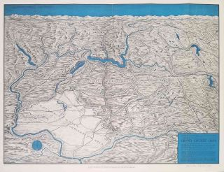 Grand Coulee Dam. Columbia Basin Project and Its Headquarters Spokane. (Map title: Panoramic...