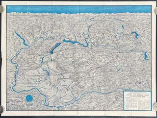 Columbia Basin Irrigation Project. Grand Coulee Dam and Its Headquarters Spokane. (Map title:...