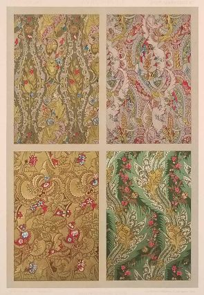 Color lithograph from L'Ornement des Tissus 1877. FABRIC DESIGN - SEVENTEENTH CENTURY, M....