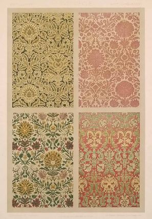 Color lithograph from L'Ornement des Tissus 1877. FABRIC DESIGN - 17TH CENTURY, M. Dupont-Auberville