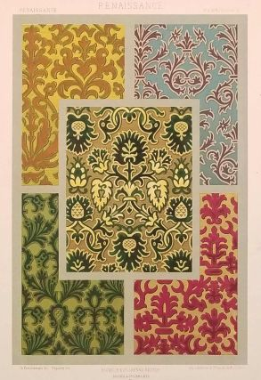 Color lithograph from L'Ornement des Tissus 1877. FABRIC DESIGN - RENAISSANCE, M. Dupont-Auberville