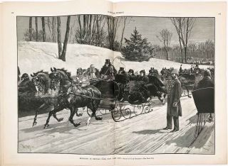 Sleighing in Central Park, New York City. IN COMPLETE ISSUE OF HARPER'S WEEKLY. NEW YORK CITY /...