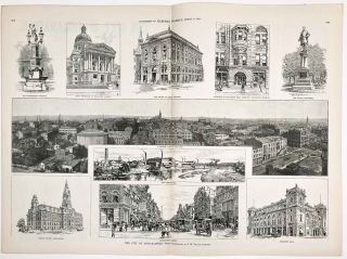 The City of Indianapolis. IN COMPLETE ISSUE OF HARPER'S WEEKLY August 11 1888. INDIANAPOLIS /...
