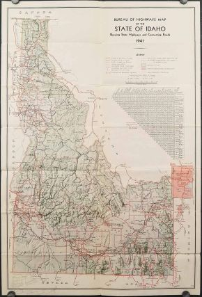 Bureau of Highways Map of the State of Idaho Showing State Highways and Connecting Roads, 1941. ...