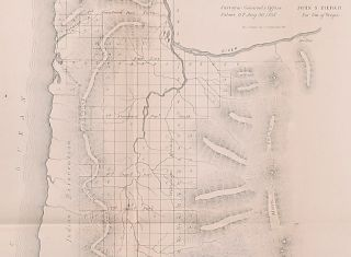 Map of Oregon Territory West of the Cascades Mountains.