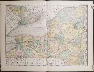 Rand, McNally & Co.'s New Business Atlas Map of New York. NEW YORK - RAILROADS