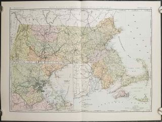 Rand, McNally & Co.'s New Business Atlas Map of Massachusetts. MASSACHUSETTS - RAILROADS